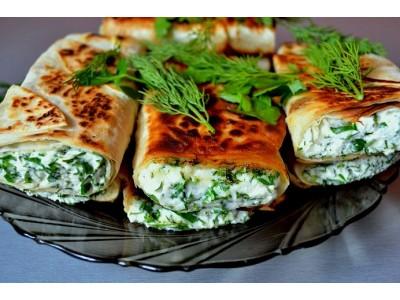 Творог с зеленью в лаваше. Вкусное и здоровое постное блюдо.